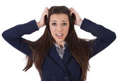 Woman pulling their hairs Stock Photography