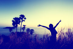 Woman pulls hands to the sky. Freedom - conceptual photography (Vintage color Stock Photos