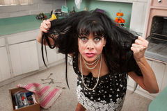 Woman Pulls Her Hair Stock Photos