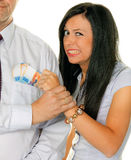 Woman pulls a man Swiss Stock Images