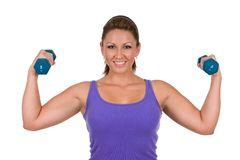Woman Pumping Iron Royalty Free Stock Image