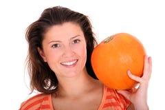 Woman with pumpkin Royalty Free Stock Photos