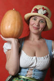 Woman with Pumpkin Royalty Free Stock Photography
