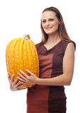 Woman with pumpkins Stock Photo
