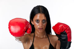 Woman punching Royalty Free Stock Images
