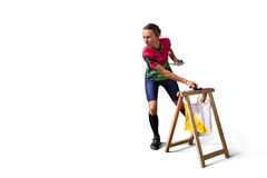 Woman punching at control point participating in orienteering competitions Royalty Free Stock Photography