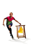 Woman punching at control point participating in orienteering competitions Royalty Free Stock Images