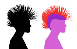 Woman with punk hair. Profile of a young beautiful woman with punk hair dress, both black and colorful silhouettes Royalty Free Stock Photography
