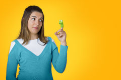 Woman with puppets Royalty Free Stock Photos