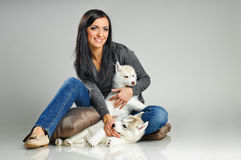 Woman and puppies Stock Photo