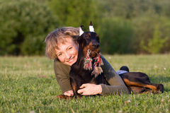 Woman and puppy Royalty Free Stock Photography