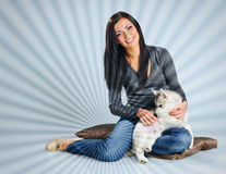 Woman and puppy Stock Photos