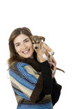 Woman with a puppy Stock Photos