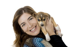 Woman with a puppy Stock Images