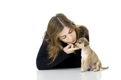 Woman with a puppy Stock Photography