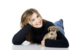 Woman with a puppy Royalty Free Stock Images