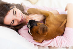 Woman with a puppy Stock Image