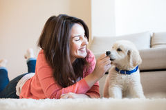 Woman with puppy Stock Photo