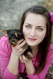 Woman and puppy Royalty Free Stock Photos