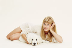 Woman and puppy Royalty Free Stock Photo