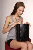 Woman with purchase bag Royalty Free Stock Photo