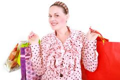Woman with purchases. On a white background Royalty Free Stock Photos