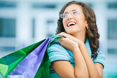 Woman with purchases from shop Royalty Free Stock Photo