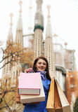 Woman with purchases at street in Barcelona Royalty Free Stock Images
