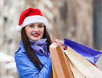 Woman with purchases at street Royalty Free Stock Photos