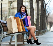 Woman with purchases at street Stock Image