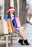 Woman with purchases at street Stock Photography