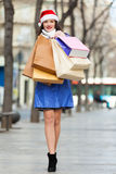 Woman with purchases at street Royalty Free Stock Photography