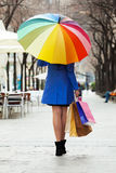 Woman with purchases and umbrella Stock Image