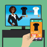 Woman is purchasing black t-shirt online in TV shop using smart Stock Photography