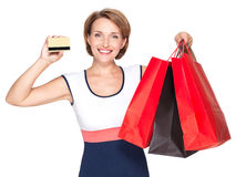 Woman with purchasing  and credit card Stock Image