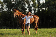 Woman with purebred dressage horse walking in a field Stock Photo