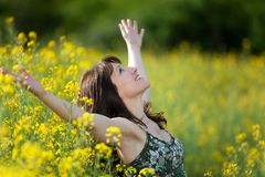 Woman purity in nature Stock Photo