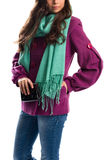 Woman in purple coat. Royalty Free Stock Photo