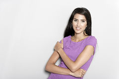 Woman in purple dress Royalty Free Stock Photography