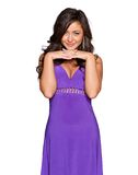 Woman in a purple dress Stock Images