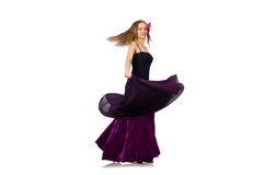 The woman in purple dress isolated on white Royalty Free Stock Images