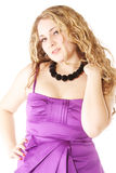 Woman in purple dress low angle view Stock Photography