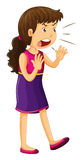 Woman in purple dress shouting vector illustration