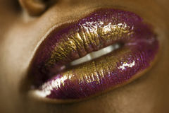 Woman With Purple And Gold Lipstick Royalty Free Stock Photos
