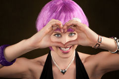Woman with Purple Hair Royalty Free Stock Image