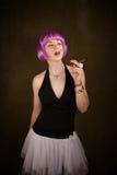 Woman with Purple Hair Stock Photo