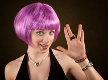 Woman with Purple Hair Stock Photo
