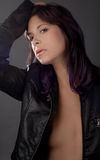 Woman With Purple Hair in Leather Jacket royalty free stock photos