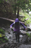Woman in Purple Hoodie and Black Leggings Stepping on Rocks at Forest during Day Royalty Free Stock Images