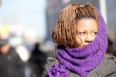 Woman with purple scarf Royalty Free Stock Images